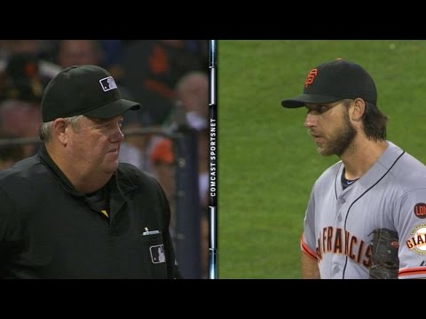 Bumgarner and West have a serious stare-down