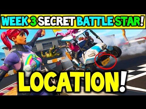 "Fortnite WEEK 3 SECRET Battlestar Location Season 5 (""Road Trip"" Challenges) - Secret Battle Star!"
