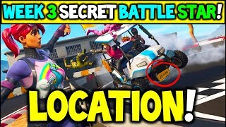 "Fortnite WEEK 3 SECRET Battlestar Location Season 5 (""Road Trip"" Challenges) - Secret Battle Star!"