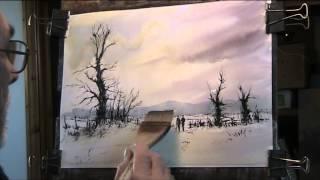 Cold Winter Landscape using black ink