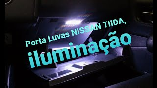Porta Luvas NISSAN TIIDA, iluminação LED e chave Trunk Release