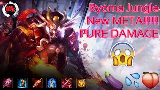 Ryoma Jungle - New META - NEW Legendary Blood thrist skin - Damage build - Arena of Valor