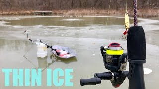 Fishing on THIN ICE!!! (DANGEROUS: DO NOT ATTEMPT)