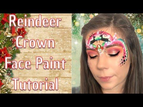 Christmas Reindeer Crown Face Painting Tutorial