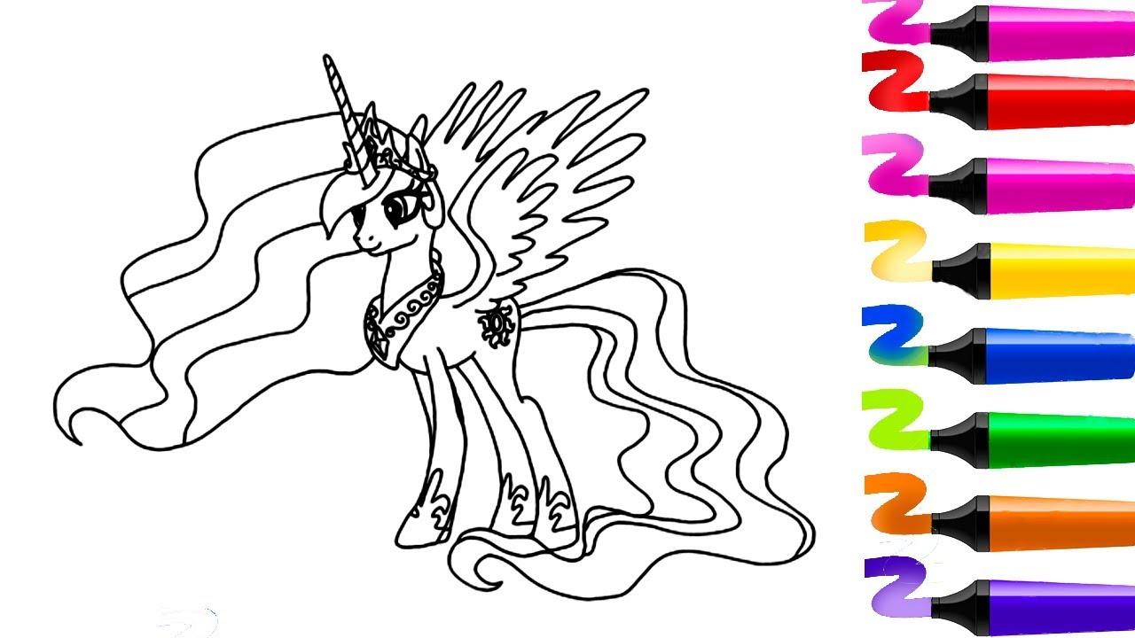 Derni res vid os coloriage my little pony les amies c - Coloriage princesse celestia ...