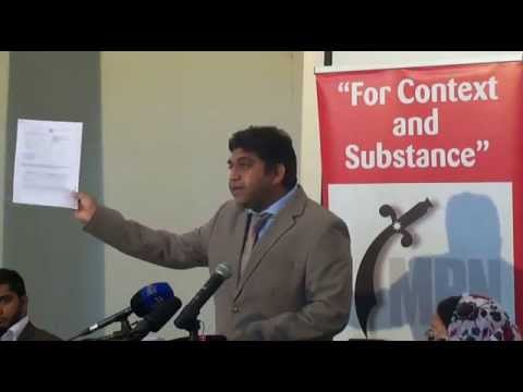 Attorney Ziyaad Patel speaking at the #IDFArrests Press Conf in Joburg