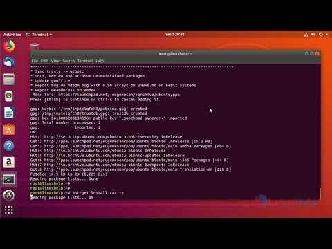 open rar file in ubuntu 18.04
