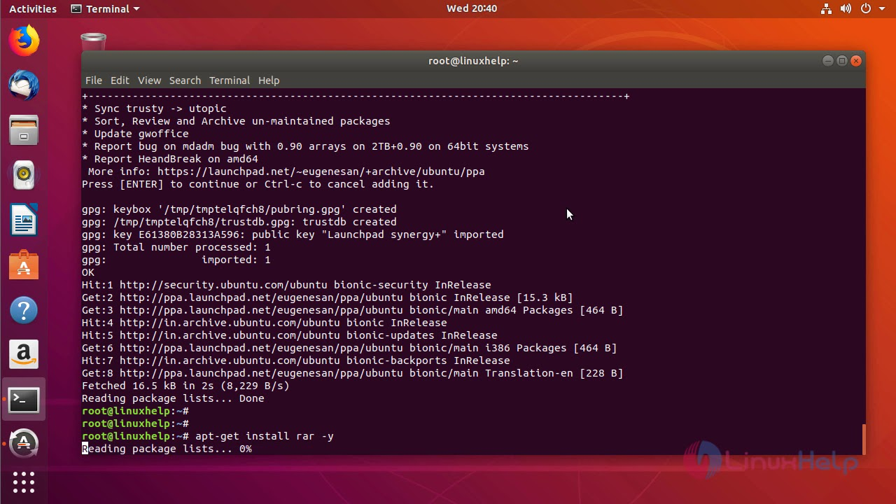 extract rar files ubuntu