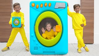 Senya and Mommy playing with magical toy washing machine