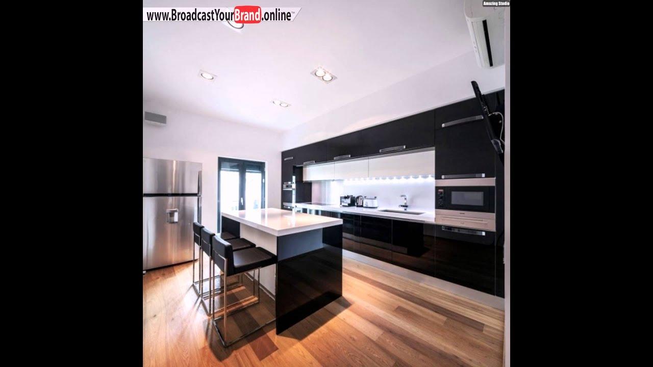 wohnideen k che modern hochglanz schwarz unterbauleuchten. Black Bedroom Furniture Sets. Home Design Ideas