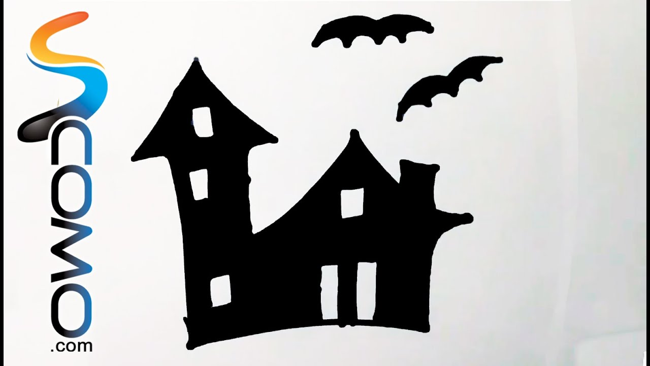 Dibujo De La Silueta De Una Casa Encantada Drawing Silhouette Of A Haunted House