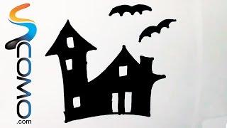 Dibujo de la silueta de una casa encantada - Drawing silhouette of a haunted house