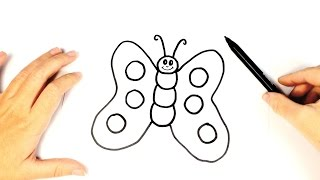 how to draw a butterfly for Kids | Easy Butterfly drawing Tutorial