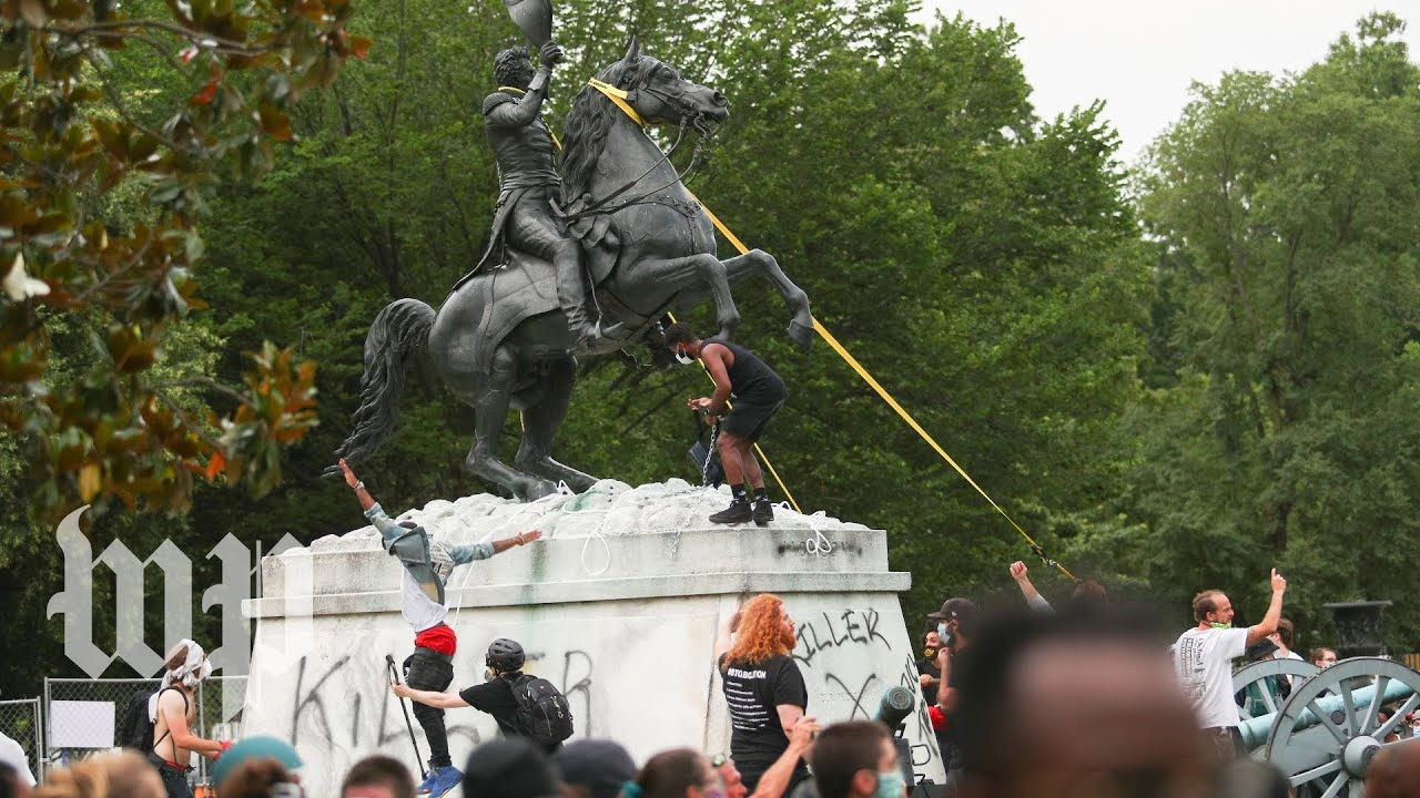Protesters in D.C's Lafayette Square try to topple Andrew Jackson ...