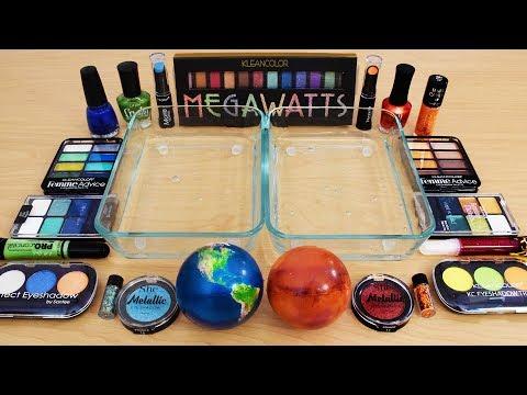 Earth vs Mars - Mixing Makeup Eyeshadow Into Slime Special Series 131 Satisfying Slime Video
