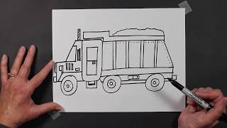 How to Draw a Dump Truck Dumptruck Construction Equipment Vehicle for Kids