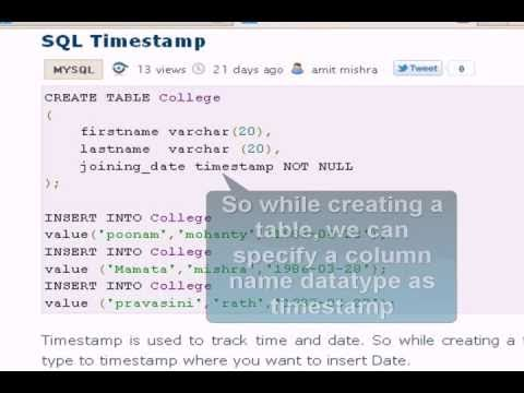 MySQL Tutorial : time stamp command