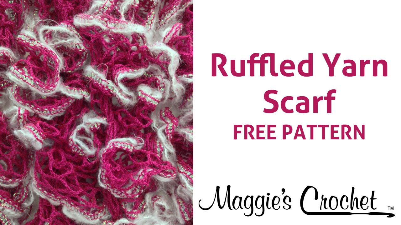 Starbella Luxe Yarn Crochet Ruffled Scarf Right Handed