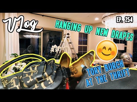 TORY BURCH AT THE THRIFT & HANGING UP NEW DRAPES | VLOG EP.