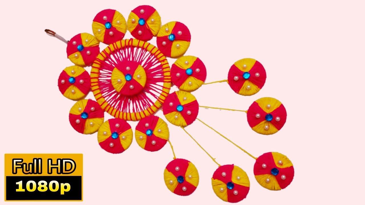 Download oon se jhumar banane ka asan tarika | ऊन से बनायें आसान झूमर | bangles wool wall hanging | rrj arts