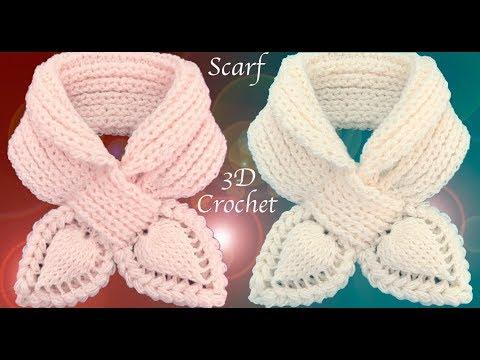 Bufanda a Crochet  Puntos elástico Inglés Punto de hojas 3D trenzadas tejido tallermanualperu
