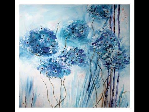 Acrylmalerei: Blüten malen, painting flowers, tutorial