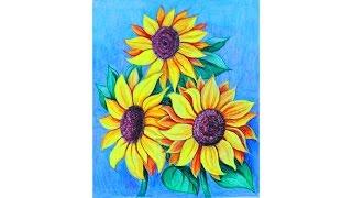 Уроки рисования. Как нарисовать цветы ПОДСОЛНУХИ мелками Erich Krause(Узнайте больше о материалах для детского творчества на этом сайте http://erichkrause.com ▻ Скачайте видео урок