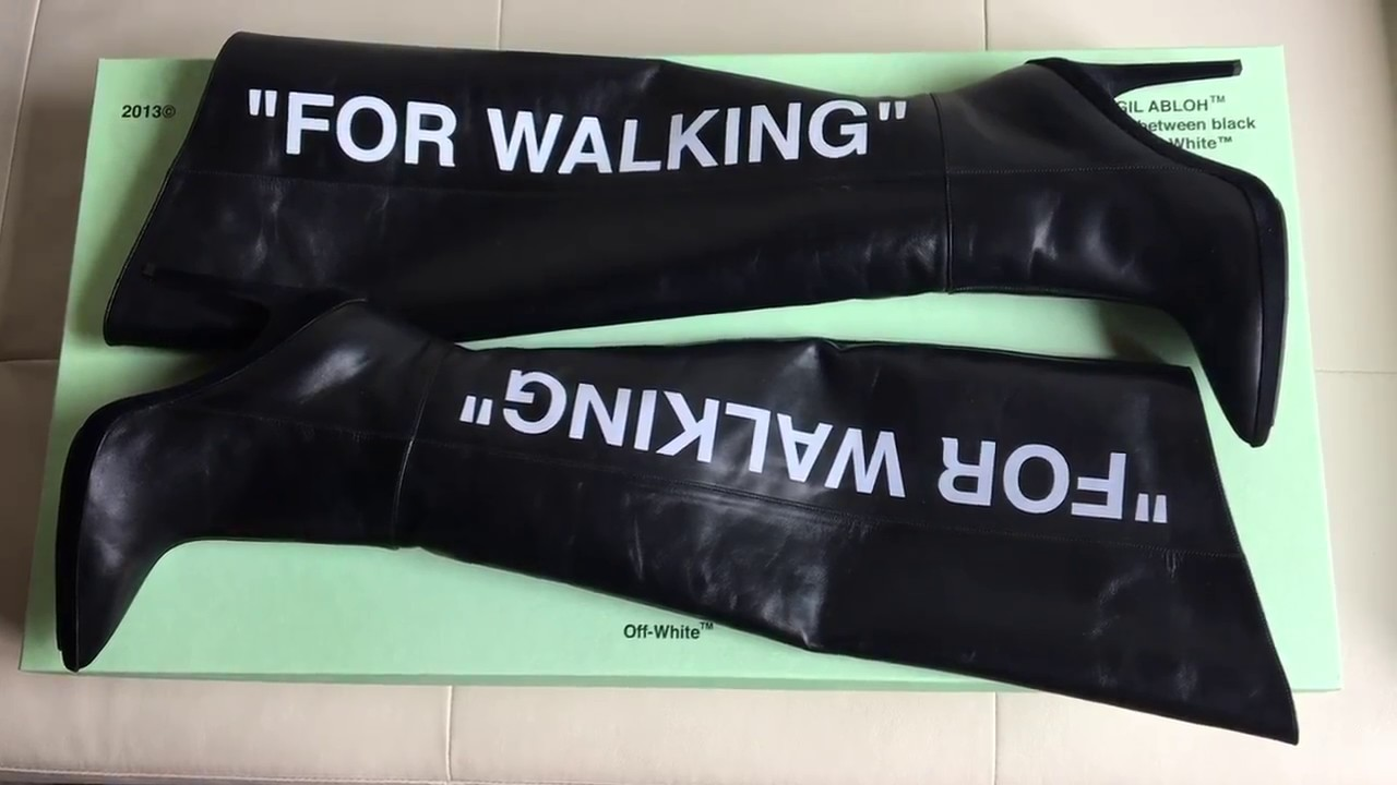 38547eae19c6 OFF-WHITE For Walking printed patent leather knee boots c o Virgil Abloh  unboxing