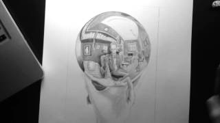Hand with Reflecting Sphere - MC Escher Replication