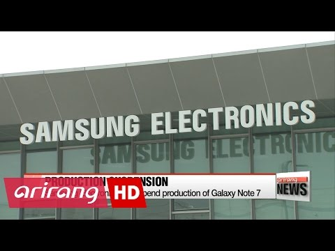 ARIRANG NEWS BREAK 20:00 Samsung Electronics to suspend production of Galaxy Note 7 worldwide