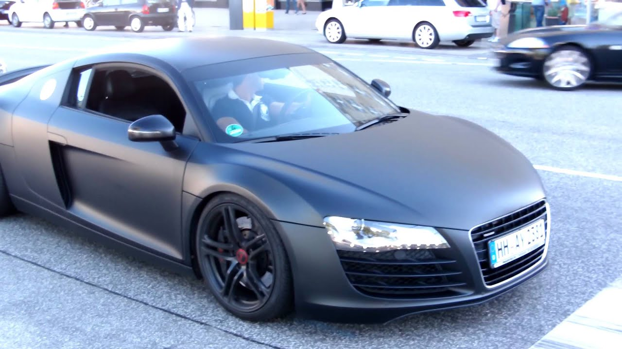 Matte Black Audi R8 with Capristo exhaust accelerate - YouTube