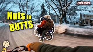 Pit Bikes Rip the SNOWY Streets!