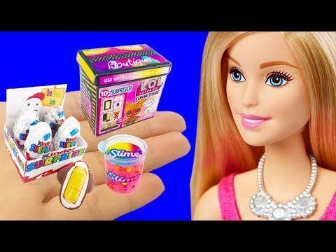 11 DIY Barbie Hacks Miniature LOL Surprise FURNITURE Box, Kinder Surprise Eggs, Liquid Slime
