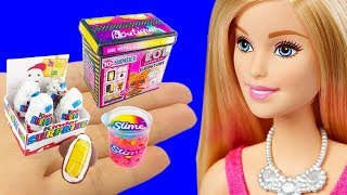 11 DIY Barbie Hacks Miniature LOL Surprise FURNITURE Box, Kinder Surprise Eggs, Liquid Slime
