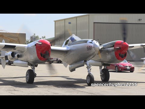 P-38 Lightning Start up, flight & shut down