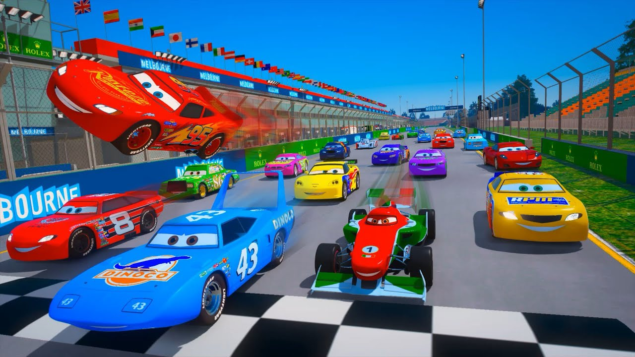 Race All Cars   Albert Park Circuit   The King VS  McQueen Francesco Bernoulli Chick Hicks & Friends