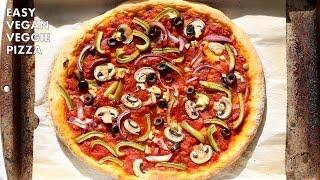 Easy Vegan Veggie Pizza with No Knead Crust - VeganRicha.com