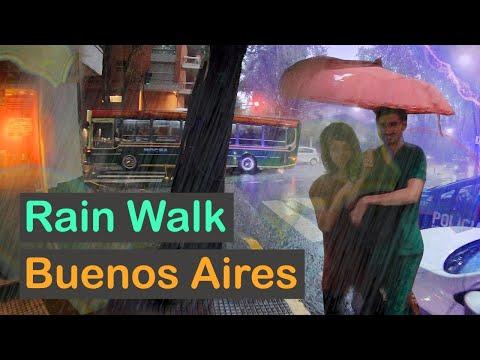 BUENOS AIRES, Argentina — Heavy Thunderstorm (ASMR Umbrella City Rain Sound) WALKING TOUR【4K】☔️🇦🇷