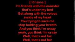 Repeat youtube video Eminem ft Rihanna - The Monster [HQ Lyrics]