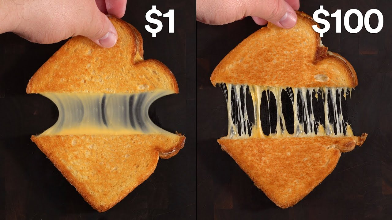 $1 Grilled Cheese Sandwich vs $100 | Guga Foods
