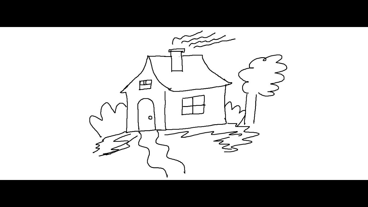 easy kids drawing lessons how to draw a cartoon house - Drawing For Small Children