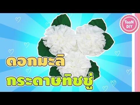 Easy jasmine Paper flower ดอกมะลิจากกระดาษทิชชู่ ดอกไม้ติดบอร์ด จัดบอร์ด วันแม่  花摺紙 摺紙花--TooNDIY