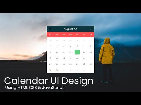 Calendar UI Design With Datepicker Using HTML CSS JS