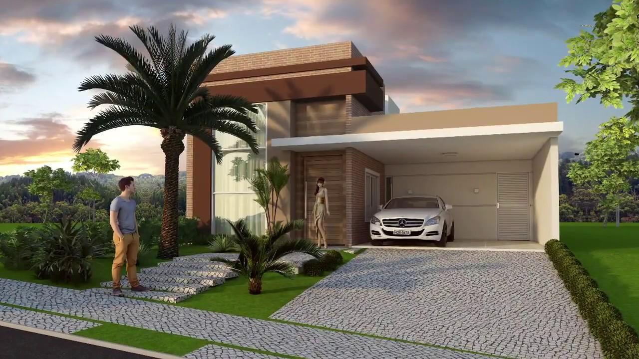 Casa Térrea Fachada Moderna Com Telhado Embutido Terreno ...