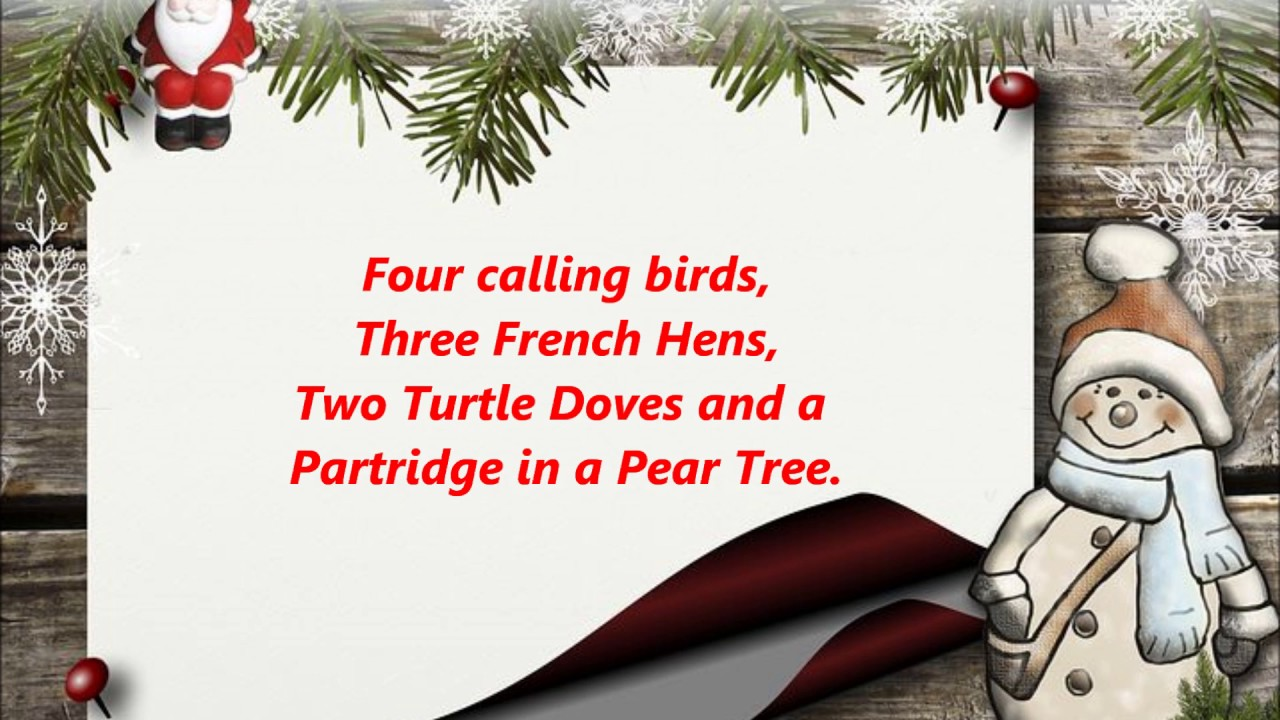 The First Day Of Christmas Lyrics.Twelve Days Of Christmas Words Lyrics On The First Day Of Christmas Sing Along Song Songs