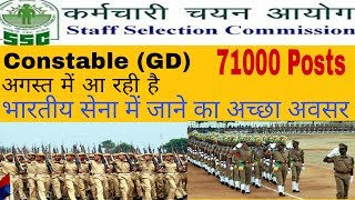 SSC Constable (GD) Requirement 2017 for 71000 Post