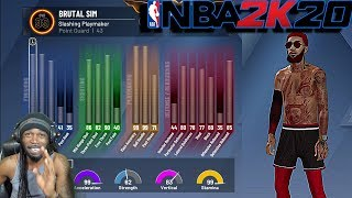 "NBA 2K20 BEST PG BUILD 99.9 ATTRIBUTE BADGES & ANIMATION UPDATE ""ELITE CONTACT DUNKS UNLOCKED"""