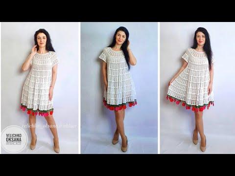 Широкое платье крючком