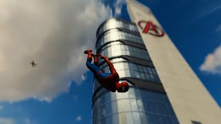 Spider-Man PS4-Climbing & Jumping Off Avengers Tower | Parkour on Cars & Fire Escapes - Classic Suit