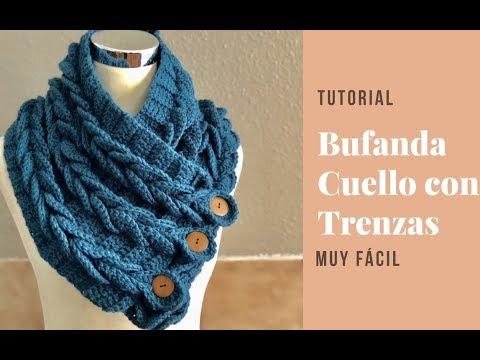 diseñador de moda 22da0 20fe4 Bufanda o Cuello con Trenzas en Crochet